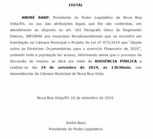 AUDIÊNCIA PÚBLICA LDO - LEI DE DIRETRIZES ORÇAMENTÁRIAS
